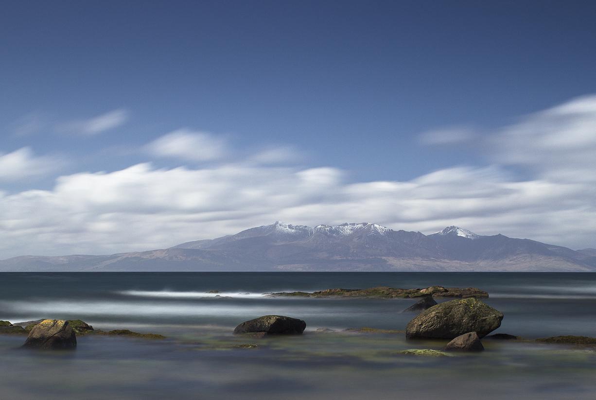 Isle of Arran mountains snow sea